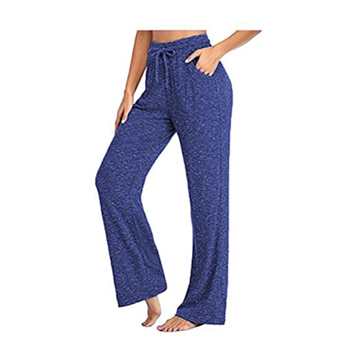 FDSVCSXV Mujeres Pantalones de Yoga Damas Pantalones de Pierna Recta Casual con Bolsillos, Cordón para Pilates Entrenamiento Gimnasio Corriendo Corredores,Royal Blue,L