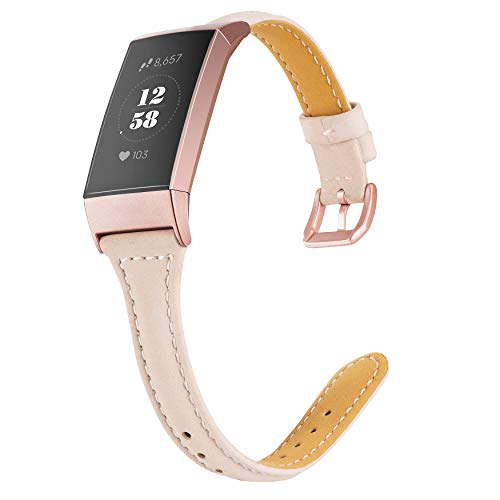Wearlizer Compatible with Charge 3 Bands for Women Slim Leather Replacement Fit Charge hr 3 Special Edition Rose Gold Band Accessories Strap Beige