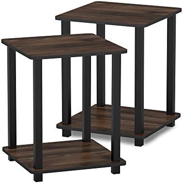 Best FURINNO Simplistic End Table, Columbia Walnut/Black