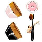 Brocha de base con forma de pétalo y brocha de mezcla con espejo compacto, 4 piezas Kabuki cepillo...