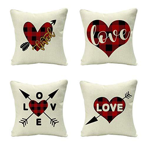 Funda de almohada de lino beige de 45,7 x 45,7 cm para cama, sofá, decoración, paquete de 4 fundas de cojín cuadradas, diseño de corazón y flecha, diseño de cuadros, color rojo, regalo de Navidad