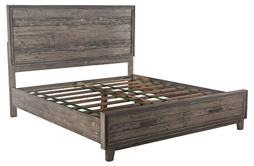 Affordable World Interiors King Panel Bed in Weathered Graywash