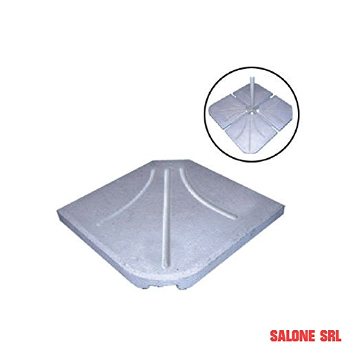 Salone-negozio-online Base APPOGGIO per OMBRELLONE 4PZ MARMETTE QUADRONI Cemento 53X53X8
