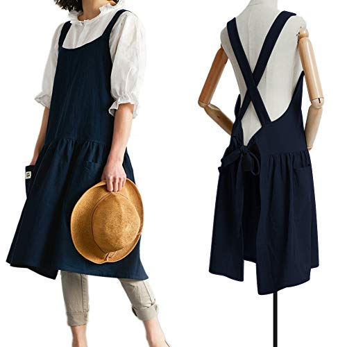 Product Image of the Japanese Cotton Linen Cross Back Apron for Women with Pockets for Painting Gardening Navy Blue with Waist Ties