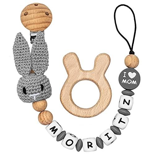RUBY - Chupetero Personalizado Para Bebe Cadena Chupete con Nombre Bola Silicona Antibacteriana con Pinza de Madera, Chupetero de Conejo de Crochet (Gris)
