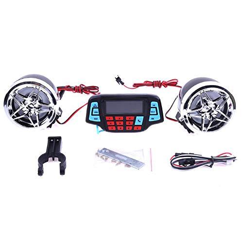 Liseng - Sistema de sonido de alarma para moto, altavoces estéreo, reproductor de música, MP3, FM, radio y altavoz, alarma de mando a distancia ATV Scooter