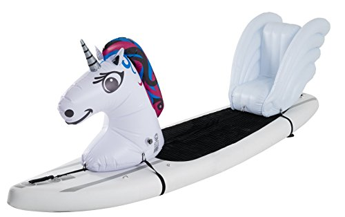 Stand Up Floats Inflatable Toy Unicorn and seat Easily attaches to Any SUP Paddle Board with Removable Universal Harness, White, Large