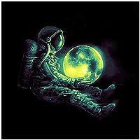 YQQICC ギャラクシースター宇宙飛行士惑星スペースワンピースキャンバスポスターリビングルームの装飾のための宇宙地球の壁の写真 -60x60cmフレームなし