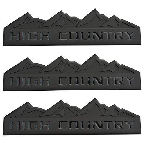 Yuauto 3Pc HIGH Country Car Emblem, Replacement for Badges Door Tailgate 3D Nameplate for Chevrolet Silverado 1500 2500HD Sierra 3500HD (Black)