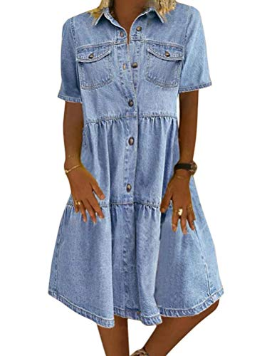 Tomwell Jeanskleid Sommerkleid Damen Jeans Kleider V-Ausschnitt Kurzarm Strandkleider Einfarbig A-Linie Kleid Boho Knielang Kleid Denimkleid A Blau M