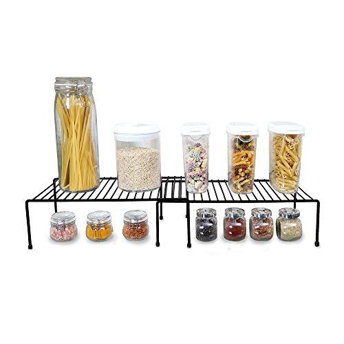 Smart Design Cabinet Storage Shelf Rack - Extendable (16 to 32.5 Inch) - Steel Metal Wire - Cupboard, Plate, Dish, Counter & Pantry Organizer Organization - Kitchen [Black]