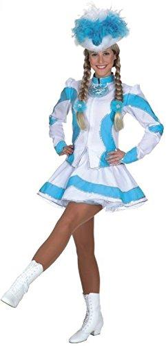 narrenkiste O9661-44 türkis-weiß Damen Funkemariechen-Tanzmariechen Kostüm-Uniform Gr.44