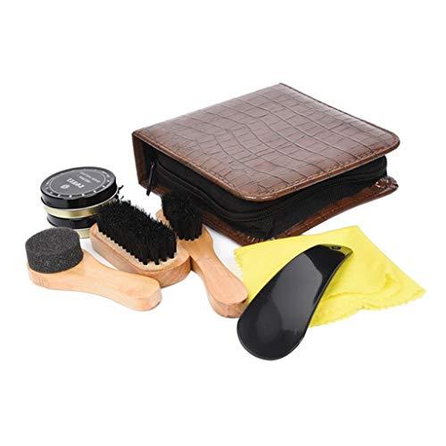 Gazechimp Kit de Limpieza de Zapatos para Limpiar marrón Negro Cuero con Cepillo Polaco Estuche de Viaje de Lujo Premium Cepillo Suave aplicador, Cuerno de