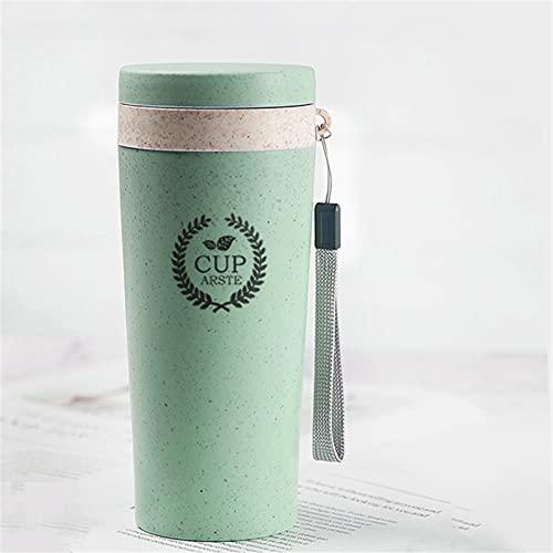 JTKJ Taza de paja Material plástico a prueba de fugas Deportes Protección del Medio Ambiente Interior o Exterior Luz y Bpa verde 400ml