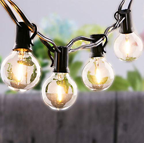 G40 Lights 25Ft Outdoor/Indoor LED String Lights with 27 Shatterproof LED 0.6W Clear Globe Bulbs Edison Vintage Decorative Lighting for Wedding Garden Pergola Patio Porch Party Yard Room, Black Wire