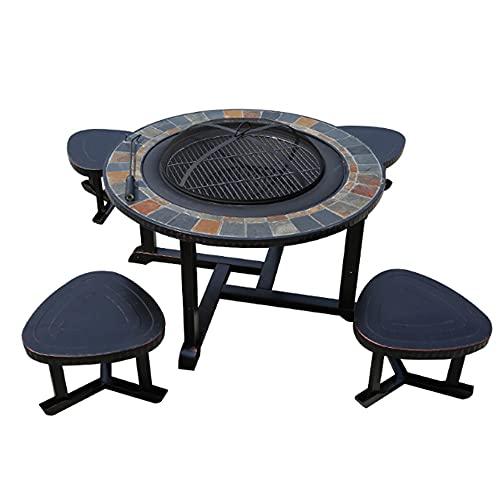 XZQ Braciere Esterno da Giardino Riscaldatore per Patio/Barbecue Multifunzione Fire Pit per Riscaldamento/BBQ Tavolo da Barbecue Rotondo in Alluminio Pressofuso E Sedia