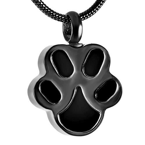 Wxcvz Collar para Cenizas Collar De Urna De Cremación De Acero Inoxidable De Pata para Cenizas De Mascotas, Medallón Colgante De Joyería De Cenizas Conmemorativas De Recuerdo