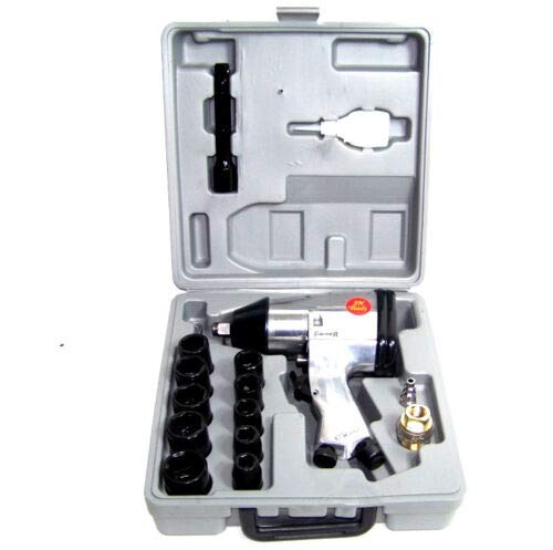 """(Best tools) AIR IMPACT WRENCH 17 PC 1/2"""" DRIVE WITH 10 1/2 DR SOCKETS 1 EXTENSION BAR OILER"""