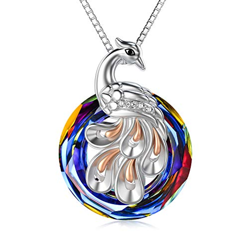 Silver Phoenix Pendant with Volcano Crystal from Austria