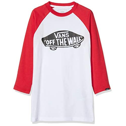 Vans Otw Raglan Boys T-Shirt, Multicolore (White/Racing Red Ksf), Medium Bambino