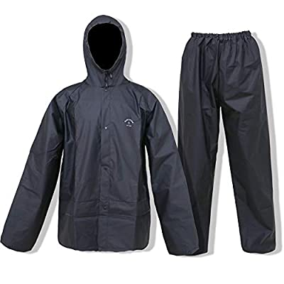 Waterproof Rain Gear for Hiking, Camping, Theme Parks Emergency Rain Suit(Black,XX-Large)
