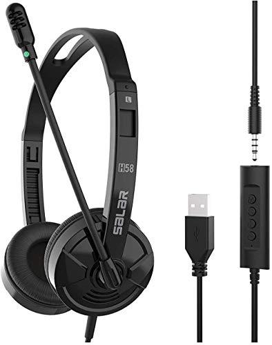 TFR USB Auriculares Micrófono PC, Auriculares Telefono USB/3.5mm, Auriculares Diadema Cable, Headset Estéreo con Micrófono con Cancelación de Ruido, para Skype, Softphone, Centros de Llamadas