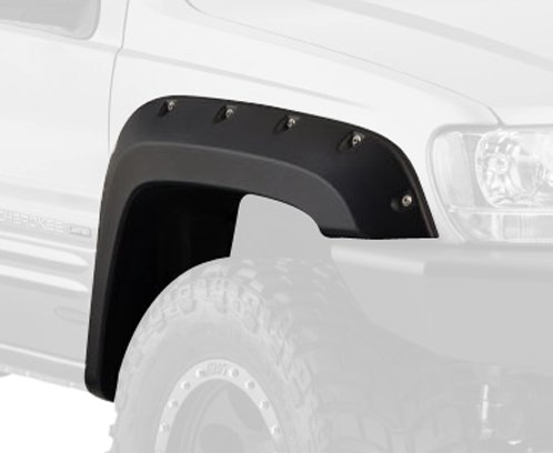 Bushwacker 10926-07 Black Jeep Cutout Style Textured Finish 4-Piece Fender Flare Set for 1999-2004 Jeep Grand Cherokee