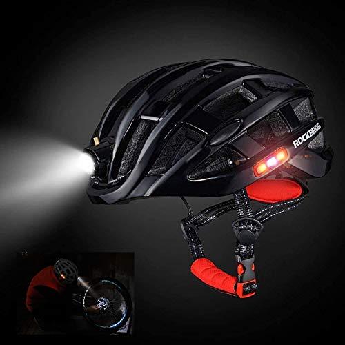 Fahrradhelm, MTB/Mountainbike/Bike/Scooter atmungsaktiver Helm, Multifunktions Sicherheitsverstellbarer Scheinwerfer Dreiseitige Sicherheitswarnleuchte Universal Herren Damen Kinder (Schwarz)