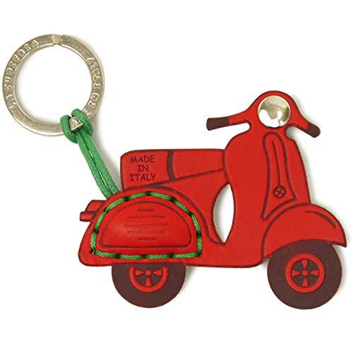 [ラ・クオイエリア] La Cuoieria イタリア製 本革 レザー キーホルダー ペスパ イタリアンブランド ハンドメイド スクーター バイク (レッド/ホワイト)