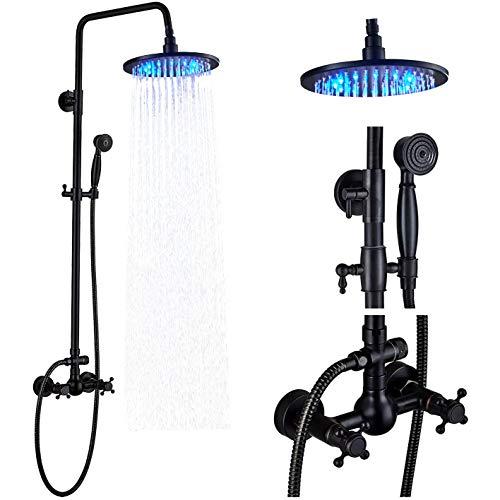 Rozin Black Color 8-Inch LED Light Rainfall Shower Head Wall Mounted Dual Handles Bathroom Rain Shower Faucet Set with Handheld Sprayer