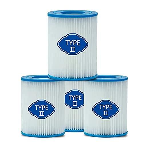 woejgo Lot de 4 filtres pour piscine type 2, cartouche pour filtre pour pompe à piscine Bestway 58094 Cartouche filtre Flowclear type II Capacité : 2006 3028 l h.