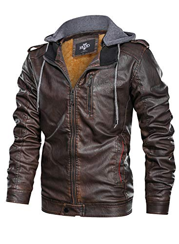 HOOD CREW Men's Coffee Color Stand Collar Warm PU Faux Leather Zip-Up Motorcycle Jacket with a Removable Hood
