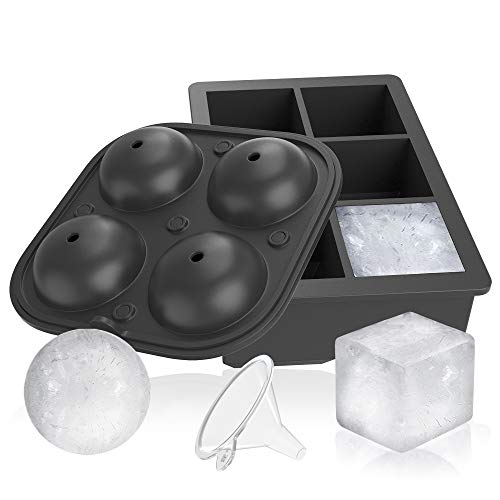 The Brothers Tod Deluxe Silicone Ice Cube Molds – Combo Set of 2 Large 1.9 inch Square Ice Cubes Tray and Large 2.5 inch Sphere Ice Molds with Lid - Reusable and BPA Free – FREE BONUS FUNNEL
