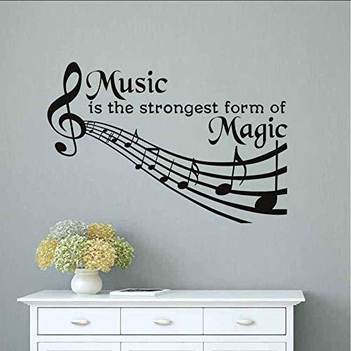 Makeyong Muziek is de sterkste vorm van Magic Muursticker Muzikale Opmerking Citaten Muursticker Vinyl Lijm Behang Verwijderbare DIY Muur Ar87X58Cm