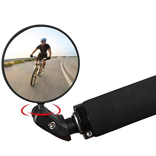 WESTGIRL Fahrradspiegel Bar End, HD Convex Safe Rückspiegel Fahrradspiegel, 360°Drehung Einstellbarer Weitwinkel Universalspiegel für Mountainbikes Rennräder (1 STÜCK)