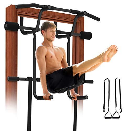 REDLIRO Pull Up Door Bar Chin-Up Doorway Strength Training with Dip bar Bonus Suspension Straps Multi Gym Pro Hanging Workout Equipment Trainer for Home