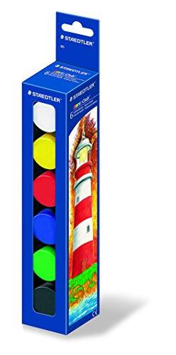 Staedtler Schulmalfarbe Noris Club, deckende Temperafarbe mit hoher Farbbrillanz, Deckkraft und Lichtechtheit, 6 Farben im Kunststofftiegel mit je 20 ml,  885