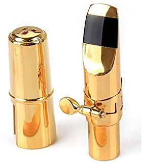Aibay Plated Eb Alto Saxophone Metal Mouthpiece + Cap + Ligature Gold #7