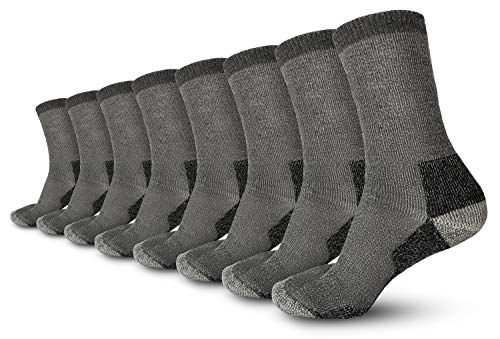 Pembrook Wool Trail Socks - L/XL (4-Pack Gray) - Soft, Warm, Thermal Merino Wool - Great for hiking, work, skiing, hunting. Sized for Men and Women