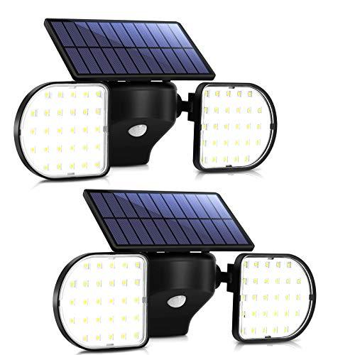 Luz Solar Exterior Foco Solar con Sensor de Movimiento Impermeable IP65 360 ° Ajustable para Garaje Patio y Jardín OUSFOT(2 Pack)