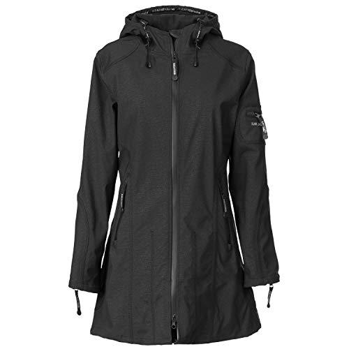 Ilse Jacobsen Damen Parka mit Kapuze | Outdoor Regenjacke wasserdicht, Winddicht, atmungsaktiv | Softshell 100% Polyester | RAIN07 Schwarz 42