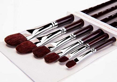 Fuumuui pennelli di zibellino Rosso-Set di 6 pennelli per Artista in Nocciola Professionale per Pittura ad Acquerello Manico Lungo in Legno