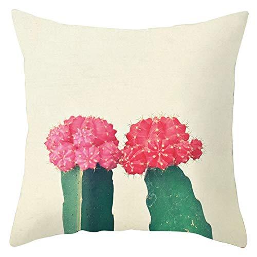 Fundas de almohada de 45,7 x 45,7 cm, tela de poliéster, funda de cojín decorativa, funda de cojín, color beige y rosa, estilo 17