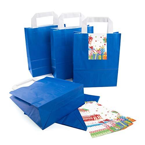 Logbuch-Verlag 10 blaue Papiertüten mit Henkel 18 x 8 x 22 cm + bunte Geschenk Aufkleber - Geschenktüten Geschenkverpackung aus Papier Weihnachten Geburtstag
