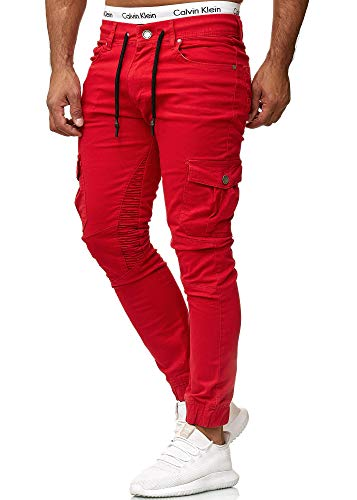 OneRedox Herren Chino Pants | Jeans | Skinny Fit | Modell 3207 Rot 34/32