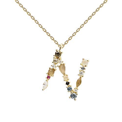 PDPAOLA - Collar Letra N - Plata de Ley 925 Bañada en Oro de 18k - Joyas para Mujer