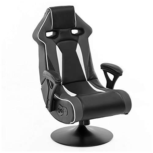 Wohnling® Soundchair Specter II in Grau-Schwarz-Weiß Bluetooth | Racing Musiksessel mit eingebauten Lautsprechern | Multimediasessel für Gamer | 1.1 Soundsystem - Subwoofer | Music Gaming Sessel