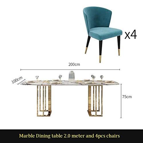 Eettafel LKU Moderne eettafel eetkamer meubeldesign, Italiaanse luxe hotel eetkamer marmeren eettafel, 2.0m tafel 4 stoelen