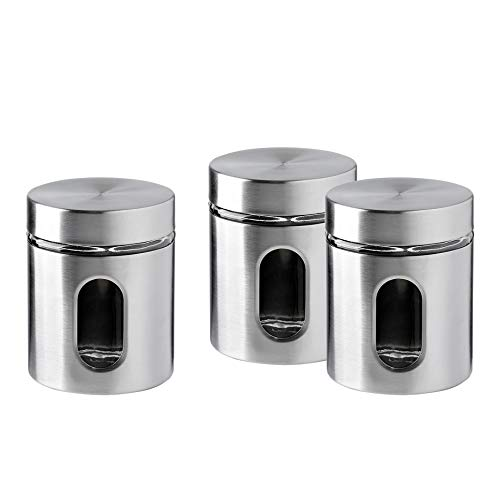 Brushed Stainless Steel and Glass Canister with Window, 5'H & 21OZ Set of 3