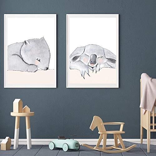 ganlanshu Cartoon Koala Kangaroo Poster Nordic Poster Kindergarten Decoración de la Pared en Lienzo,Pintura sin Marco,50X75cmx2